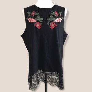 Umgee Black Floral Embroidered Lace Trim Top-Small